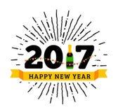 Συγχαρητήρια στο ευτυχές νέο έτος του 2017 με ένα μπουκάλι της σαμπάνιας, σημαίες διανυσματική απεικόνιση