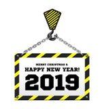 Συγχαρητήρια στο νέο έτος 2019 στο υπόβαθρο ενός γερανού κατασκευής ελεύθερη απεικόνιση δικαιώματος