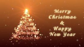 Συγχαρητήρια τηλεοπτική κάρτα Χριστουγέννων Δημιουργήστε ένα φανταστικό χριστουγεννιάτικο δέντρο Το χιόνι και snowflakes πέφτουν  απόθεμα βίντεο
