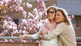 Συγχαρητήρια την ημέρα της μητέρας Γυναίκες που χαμογελούν και που μιλούν στεμένος στο μπαλκόνι ενάντια στο σκηνικό του α απόθεμα βίντεο
