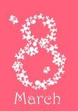 Συγχαρητήρια applique σε Women& x27 s ημέρα στις 8 Μαρτίου ελεύθερη απεικόνιση δικαιώματος