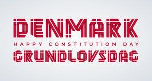 Συγχαρητήριο σχέδιο ημέρας συνταγμάτων της Δανίας με τα δανικά στοιχεία σημαιών r απεικόνιση αποθεμάτων