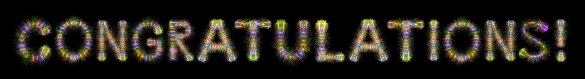 Συγχαρητηρίων οριζόντιο bla πυροτεχνημάτων σπινθηρίσματος κειμένων ζωηρόχρωμο στοκ εικόνες