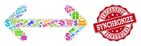 Συγχρονίστε το κολάζ του μωσαϊκού και του γρατσουνισμένου γραμματοσήμου για τις πωλήσεις απεικόνιση αποθεμάτων