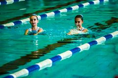 Συγχρονισμένη θηλυκό κολύμβηση Στοκ Εικόνες
