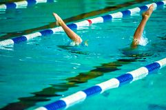 Συγχρονισμένη θηλυκό κολύμβηση Στοκ εικόνες με δικαίωμα ελεύθερης χρήσης