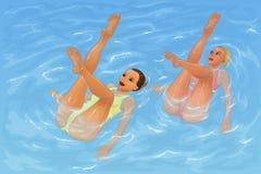 Συγχρονισμένη κολύμβηση Στοκ Φωτογραφίες