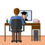 Συζήτηση μέσω του Διαδικτύου Ο σπουδαστής και ο δάσκαλος επικοινωνούν μέσω Διαδικτύου Ε-εκμάθηση, απόσταση και σε απευθείας σύνδε Στοκ Φωτογραφίες