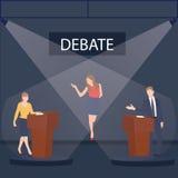 Συζήτηση δύο πολιτικών σχετικά με τη δημόσια παρουσίαση διαγωνισμού ομιλίας σκηνικών εξεδρών με το μεσολαβητή μεταξύ τους Στοκ φωτογραφία με δικαίωμα ελεύθερης χρήσης