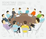 Συζητήσεις στρογγυλών τραπεζών επιχειρηματική μονάδα ανασκόπησης που απομονώνεται πέρα από το λευκό ομάδων ανθρώπων Στοκ Εικόνα