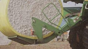 Συλλεκτική μηχανή βαμβακιού που συγκομίζει έναν τομέα βαμβακιού που δημιουργεί τα μεγάλα δέματα βαμβακιού απόθεμα βίντεο