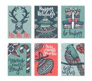 Συλλογή έξι ευχετήριων καρτών Χριστουγέννων Στοκ Εικόνα