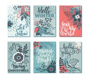Συλλογή έξι καρτών Χριστουγέννων Στοκ Εικόνα