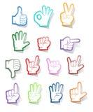 Συλλογή αυτοκόλλητων ετικεττών σημαδιών χεριών Στοκ Εικόνες