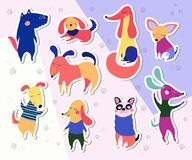 Συλλογή αυτοκόλλητων ετικεττών σκυλιών Στοκ Εικόνες