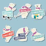 Συλλογή αυτοκόλλητων ετικεττών Χριστουγέννων με τις πολικές αρκούδες και τις επιθυμίες απεικόνιση αποθεμάτων