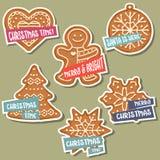 Συλλογή αυτοκόλλητων ετικεττών Χριστουγέννων με το μελόψωμο Χριστουγέννων και wis ελεύθερη απεικόνιση δικαιώματος
