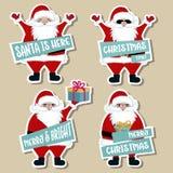 Συλλογή αυτοκόλλητων ετικεττών Χριστουγέννων με Santa ελεύθερη απεικόνιση δικαιώματος