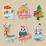 Συλλογή αυτοκόλλητων ετικεττών Χριστουγέννων ελεύθερη απεικόνιση δικαιώματος