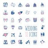 Συλλογή γαμήλιων εικονιδίων Doodle Στοκ εικόνα με δικαίωμα ελεύθερης χρήσης