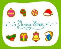 Συλλογή, διάνυσμα και απεικονίσεις στοιχείων Χριστουγέννων Στοκ φωτογραφία με δικαίωμα ελεύθερης χρήσης
