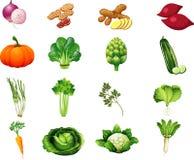 Συλλογή δύο κινούμενων σχεδίων λαχανικών για τα παιδιά Στοκ Εικόνα