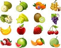 Συλλογή δύο κινούμενων σχεδίων φρούτων για τα παιδιά Στοκ φωτογραφία με δικαίωμα ελεύθερης χρήσης