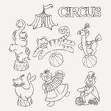 Συλλογή εικονιδίων κινούμενων σχεδίων τσίρκων με τη σκηνή chapiteau και τα εκπαιδευμένα άγρια ζώα Στοκ Εικόνες