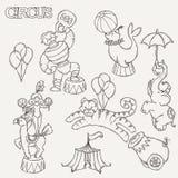 Συλλογή εικονιδίων κινούμενων σχεδίων τσίρκων με τη σκηνή chapiteau και τα εκπαιδευμένα άγρια ζώα Στοκ εικόνα με δικαίωμα ελεύθερης χρήσης