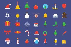 Συλλογή εικονιδίων στοιχείων Χριστουγέννων Στοκ Εικόνα