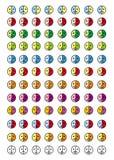 Συλλογή 8 εικονιδίων των emoticons σε 12 κλίμακες χρώματος smiley 96 Στοκ Φωτογραφία