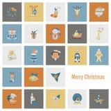 Συλλογή εικονιδίων Χριστουγέννων και χειμώνα Στοκ Φωτογραφία