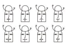 Συλλογή 8 εικονιδίων smiley στο γραπτό τόνο εικονόγραμμα απεικόνιση αποθεμάτων