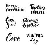 Συλλογή επιγραφών αγάπης και ημέρας βαλεντίνων απεικόνιση αποθεμάτων