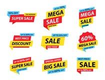 Συλλογή ετικεττών πώλησης Ειδική προσφορά, μεγάλη πώληση, έκπτωση, καλύτερη τιμή, μέγα σύνολο εμβλημάτων πώλησης Κατάστημα ή on-l διανυσματική απεικόνιση