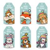 Συλλογή ετικετών Χριστουγέννων με τα ζώα ελεύθερη απεικόνιση δικαιώματος