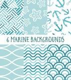 Συλλογή 6 θαλασσίων σχεδίων Στοκ Εικόνα