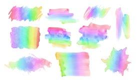 Συλλογή και ποικιλία των διαφορετικών κτυπημάτων βουρτσών watercolor σε ένα φάσμα ουράνιων τόξων Στοκ Φωτογραφία