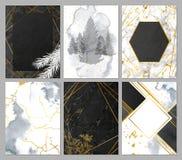 Συλλογή καρτών πολυτέλειας με τη σύσταση μαρμάρου και watercolor, τη χρυσή γεωμετρική μορφή και τις hand-drawn εγκαταστάσεις Διαν στοκ φωτογραφία με δικαίωμα ελεύθερης χρήσης