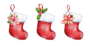 Συλλογή κενής κόκκινης γυναικείας κάλτσας Χριστουγέννων watercolor συρμένης της χέρι απεικόνιση αποθεμάτων