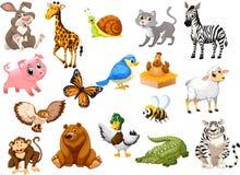 Συλλογή κινούμενων σχεδίων ζώων μια για τα παιδιά Στοκ Εικόνες