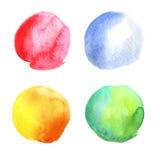 Συλλογή κύκλων Watercolor επίσης corel σύρετε το διάνυσμα απεικόνισης Στοκ φωτογραφία με δικαίωμα ελεύθερης χρήσης