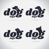 Συλλογή λογότυπων σκυλιών λογότυπων _ font σύμβολο επίσης corel σύρετε το διάνυσμα απεικόνισης Στην άσπρη ανασκόπηση ελεύθερη απεικόνιση δικαιώματος