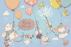 Συλλογή με τα χαριτωμένα γενέθλια mouses με τα μπαλόνια ελεύθερη απεικόνιση δικαιώματος