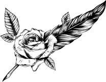 Συλλογή μόδας Boho των διανυσματικών λουλουδιών με τα φτερά διανυσματική απεικόνιση