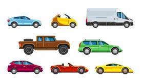 Συλλογή οχημάτων Αστική μεταφορά στο αυτοκίνητο πόλεων Διανυσματική απεικόνιση