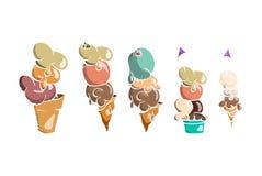 Συλλογή παγωτού, doodle διανυσματική απεικόνιση Στοκ Εικόνες