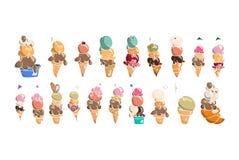Συλλογή παγωτού, doodle διανυσματική απεικόνιση Στοκ εικόνες με δικαίωμα ελεύθερης χρήσης
