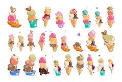 Συλλογή παγωτού, doodle διανυσματική απεικόνιση Στοκ Εικόνα
