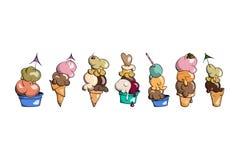 Συλλογή παγωτού, doodle διανυσματική απεικόνιση Στοκ εικόνα με δικαίωμα ελεύθερης χρήσης